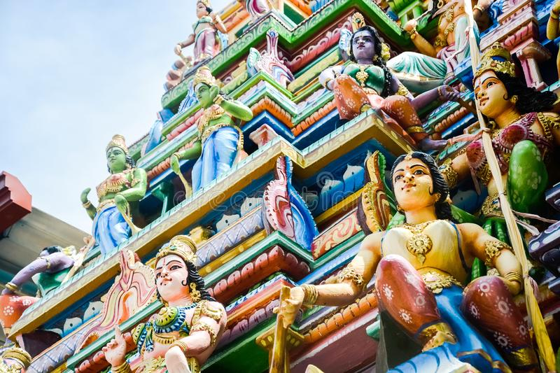 Colorful statues on Hindu temple top stock images