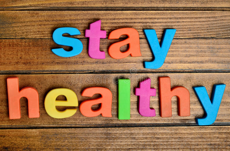 Colorful stay healthy word stock image