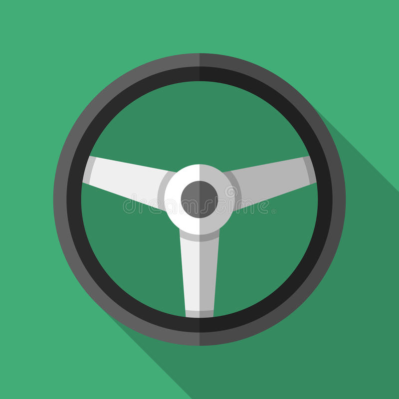 Colorful steering wheel icon in modern flat style with long shadow. Car parts royalty free illustration