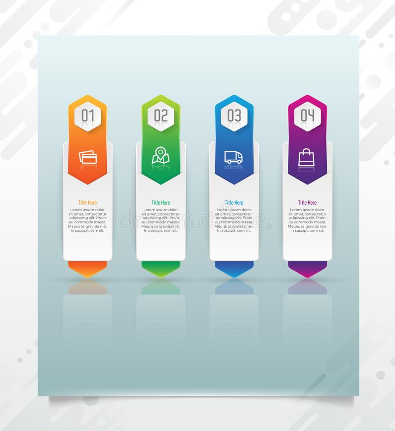 Colorful step square infographic vector design with paper effect for business purpose and can be used for presentation, brochure stock illustration