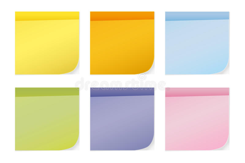 Colorful sticky notes. Isolated on white stock illustration