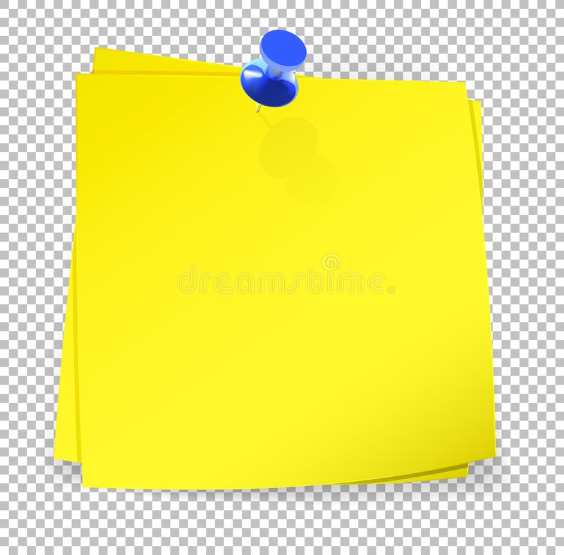 Colorful sticky notes attached with blue pin on transparent back. Ground. Vector Illustration royalty free illustration