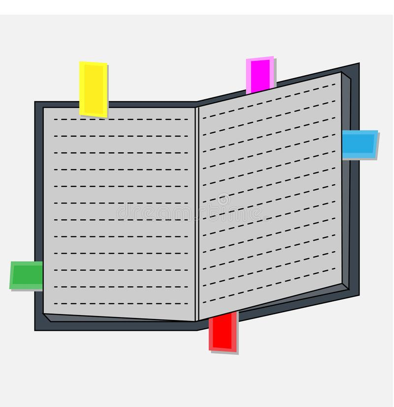 Colorful sticky notes on the pages of a book. Reminding concept vector illustration