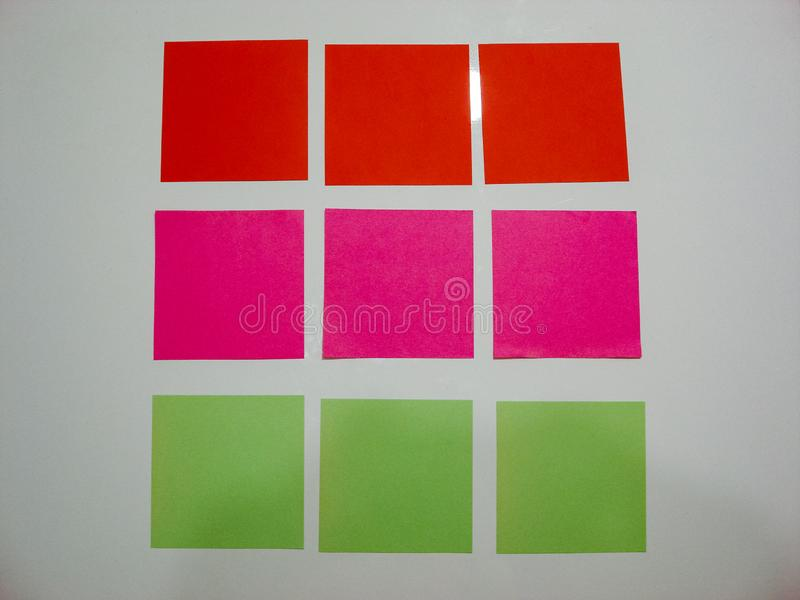 Colorful sticky notes on white background.  Sticky notes on white desk. Colorful post it stock photos