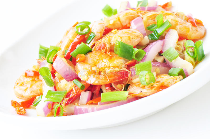 Colorful stir fry. Shrimp with vegetables stock photos