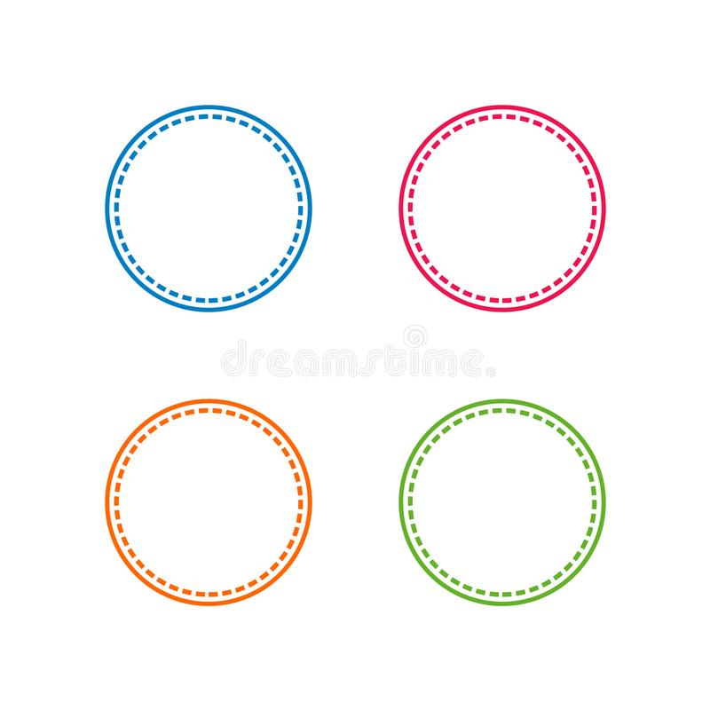 Colorful Stitched With Circle Shape, Vector Frame or Border Illustrations.  stock illustration