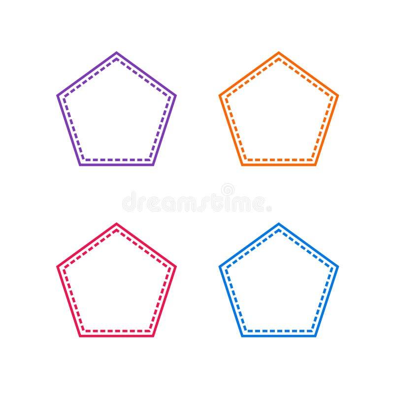 Colorful Stitched Pentagon Shape, Vector Outline Illustrations. stock illustration