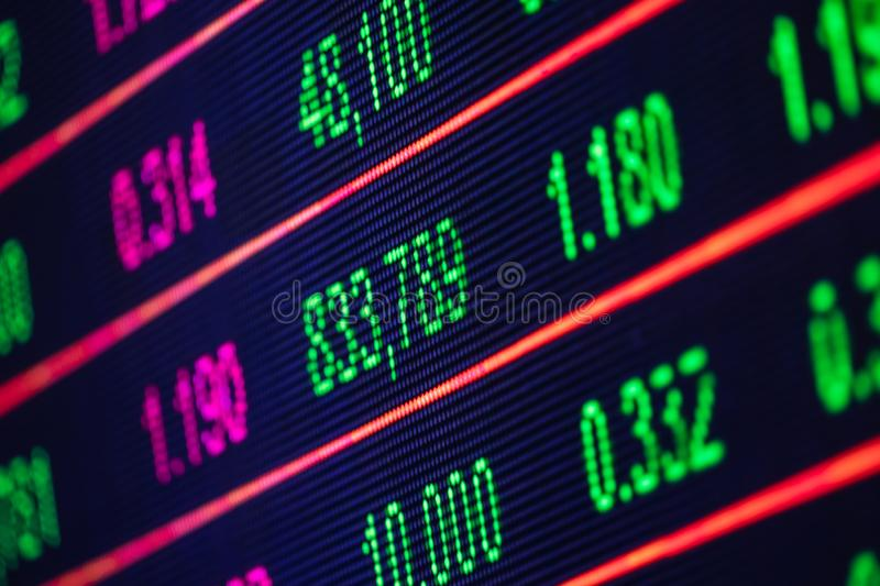 Colorful stock chart, displaying on the computer screen. Closeup stock photo