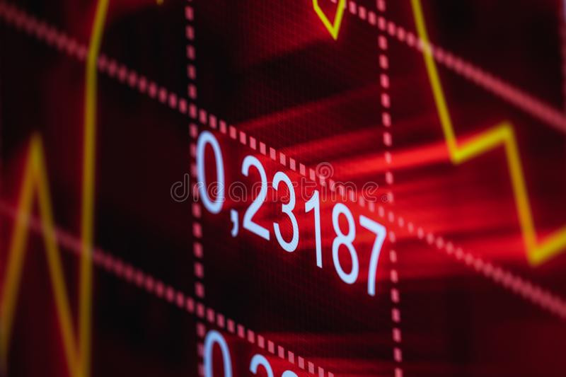 Colorful stock chart, displaying on the computer screen. Closeup royalty free stock photos