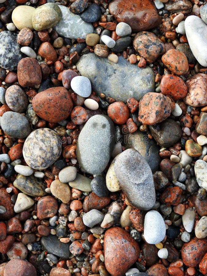 Colorful stones on sea coast, Lithuania stock photos