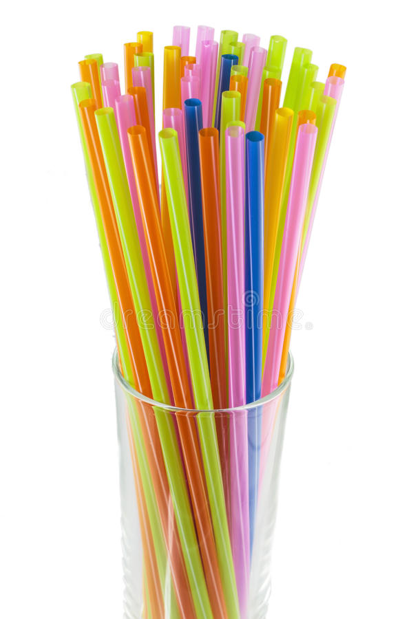 Colorful of straw. Colorful drinking straws on a white background stock photo