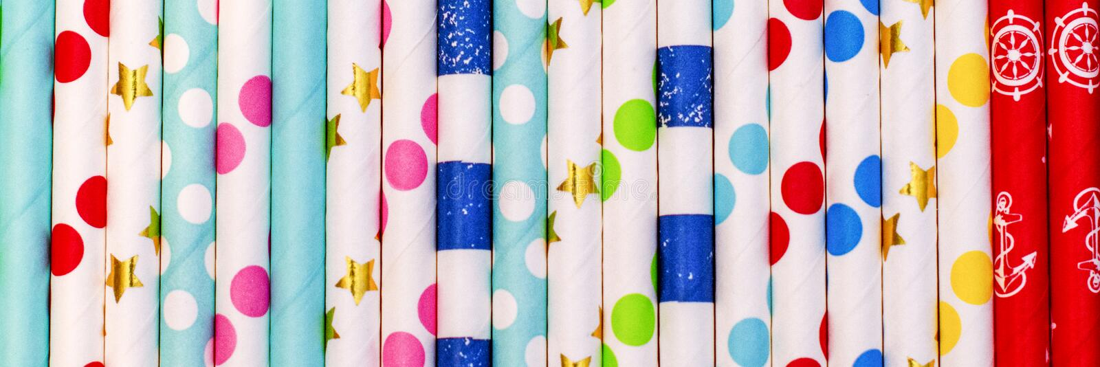 Colorful straws for cocktails. background. banner royalty free stock photography