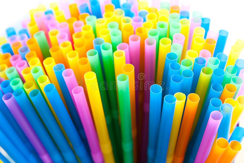 Colorful straws isolated on white. Background stock photo