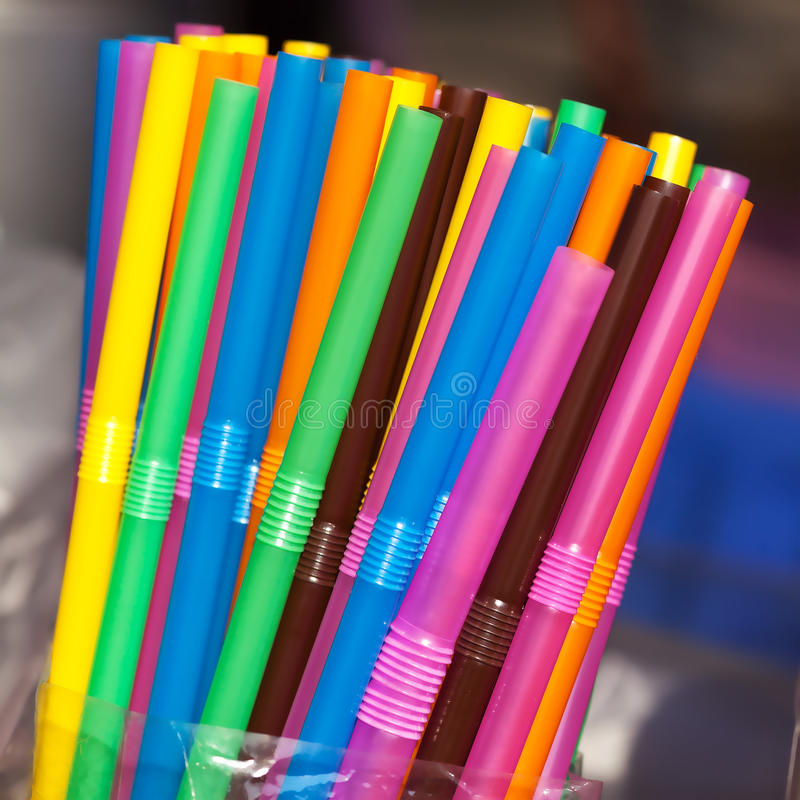 Colorful straws. Colorful plastic straws close up royalty free stock image