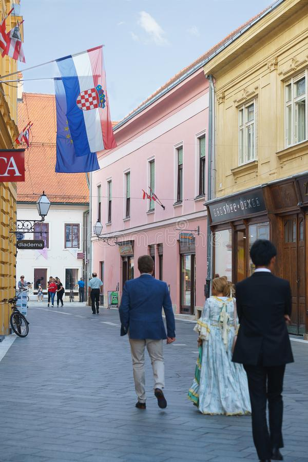 Colorful street in baroque town Varazdin view, tourist destination, northern Croatia. Varazdin Baroque Evenings. Varazdin, Croatia. 09.21.2018. Colorful street stock images