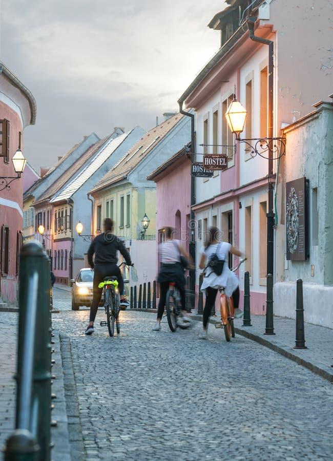 Colorful street in baroque town Varazdin view, tourist destination, northern Croatia. Varazdin Baroque Evenings. Varazdin, Croatia. 09.21.2018. Colorful street royalty free stock photos