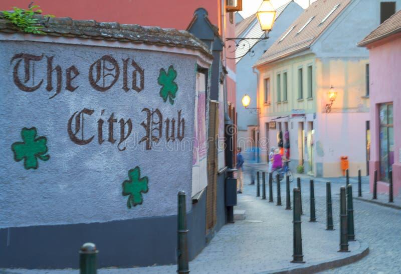 Colorful street in baroque town Varazdin view, tourist destination, northern Croatia. Varazdin Baroque Evenings. Varazdin, Croatia. 09.21.2018. Colorful street royalty free stock image