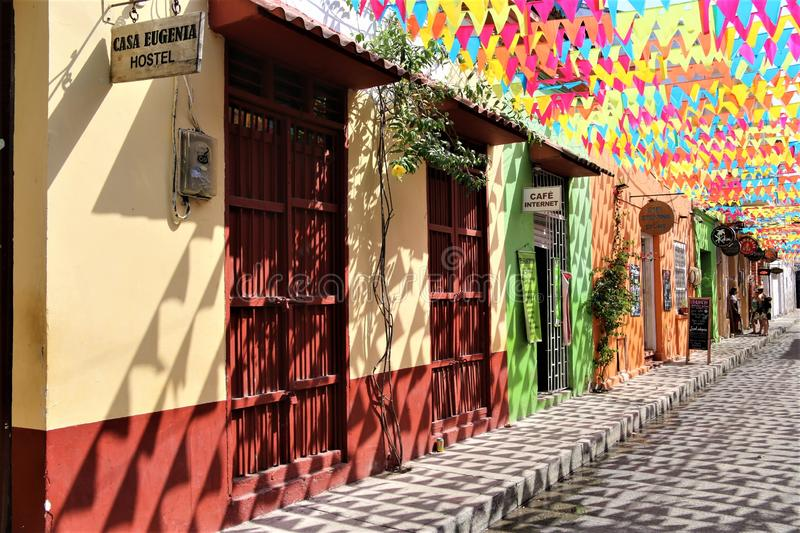 Colorful street in Cartagena royalty free stock photos