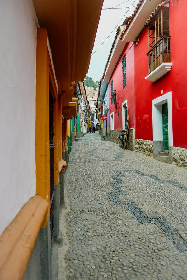 Colorful street in La Paz, Bolivia royalty free stock image