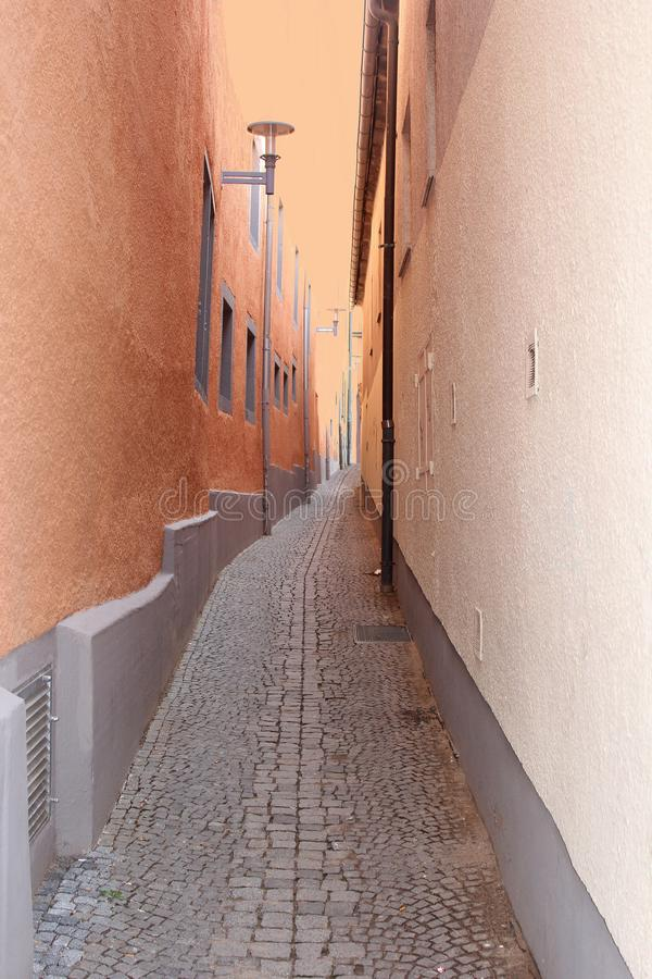 Ancient colorful alleyway with cobblestones, Thuringia, Germany stock photos