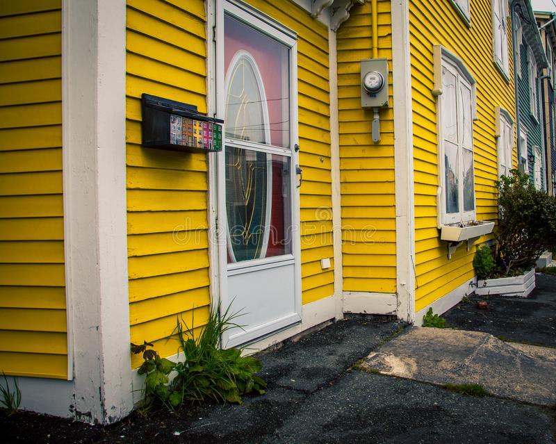 Colorful street corner St Johns. A colorful street corner in the city of St Johns Newfoundland stock image