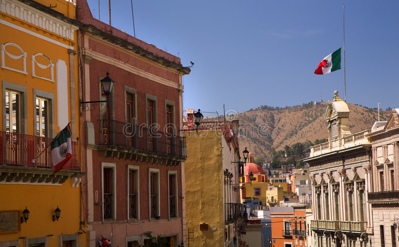 Download Colorful Street With Flags Guanajuato Mexico Stock Photo - Image: 5009946