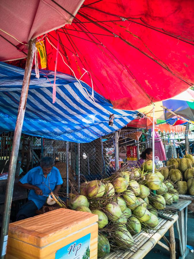 Colorful street fruit stalls in summer time royalty free stock photography