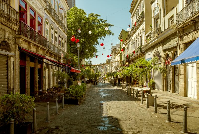 Colorful street in Lapa district of Rio de Janeiro stock image