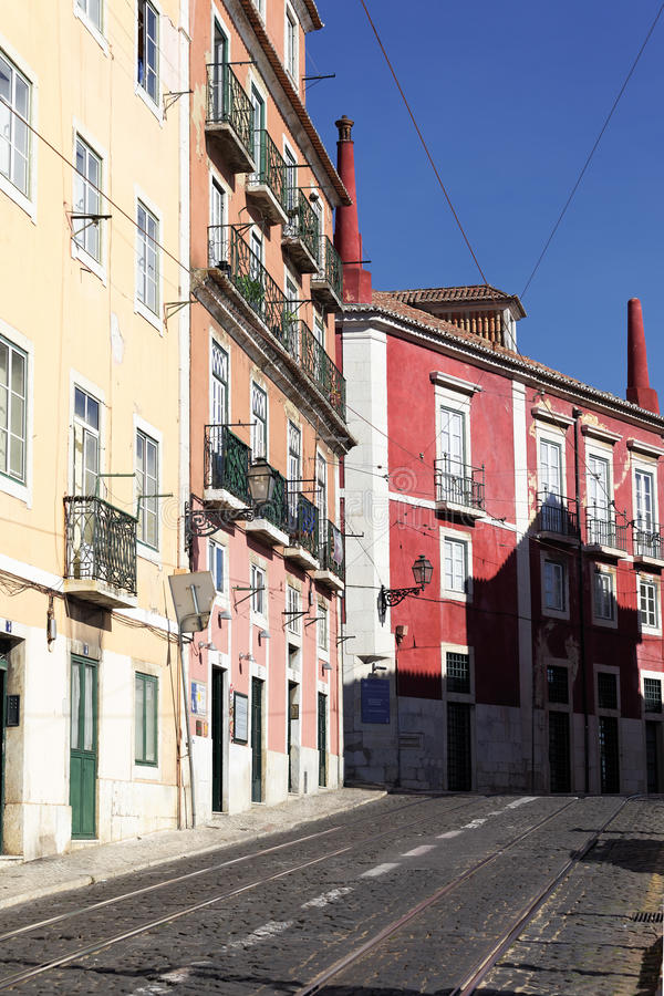 Download Colorful street in Lisbon stock image. Image of tram - 28248765
