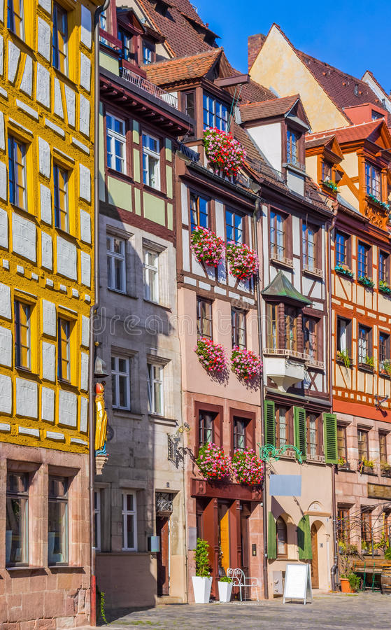 Colorful street- Nuremberg, Germany -typical german houses stock photography