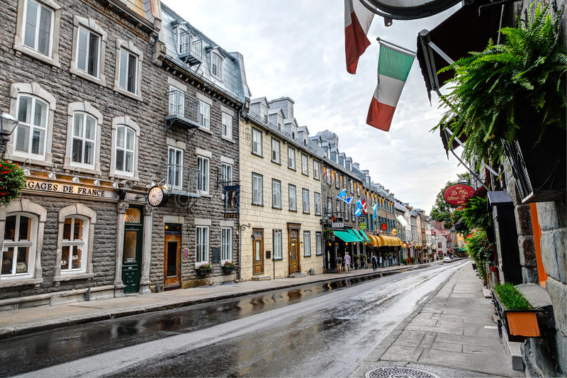 Colorful Street of Old Quebec City, Canada royalty free stock images