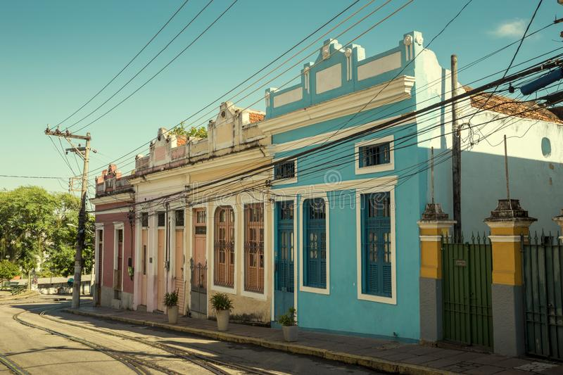 Colorful street in Santa Teresa district of Rio, Brazil royalty free stock image