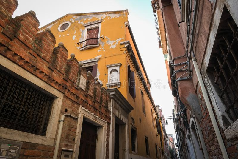 Colorful Street Scene in Venice, Italy stock photography