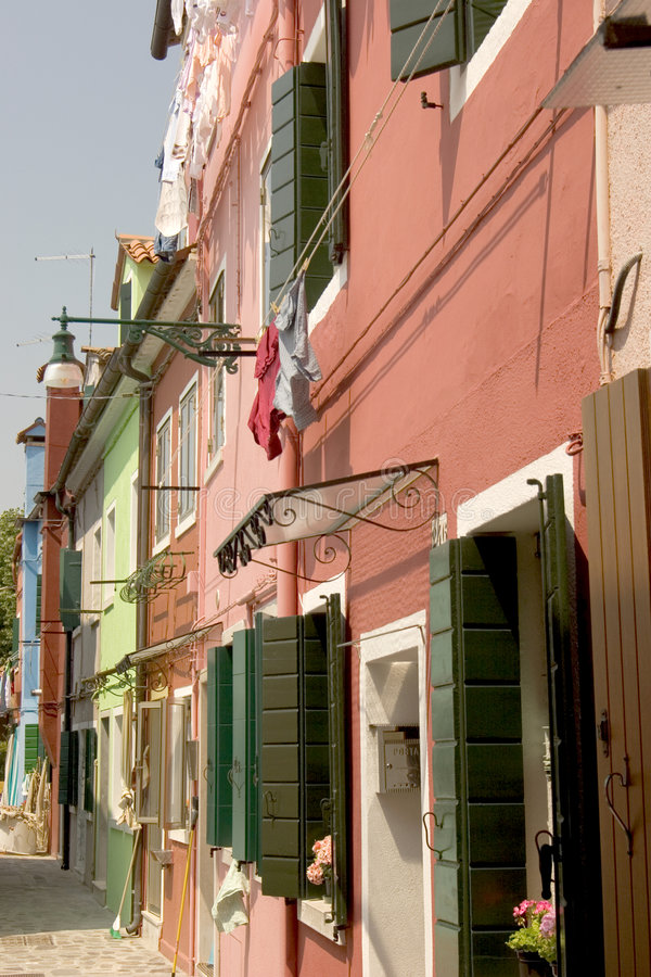The colorful streets of Burano - Venice royalty free stock image