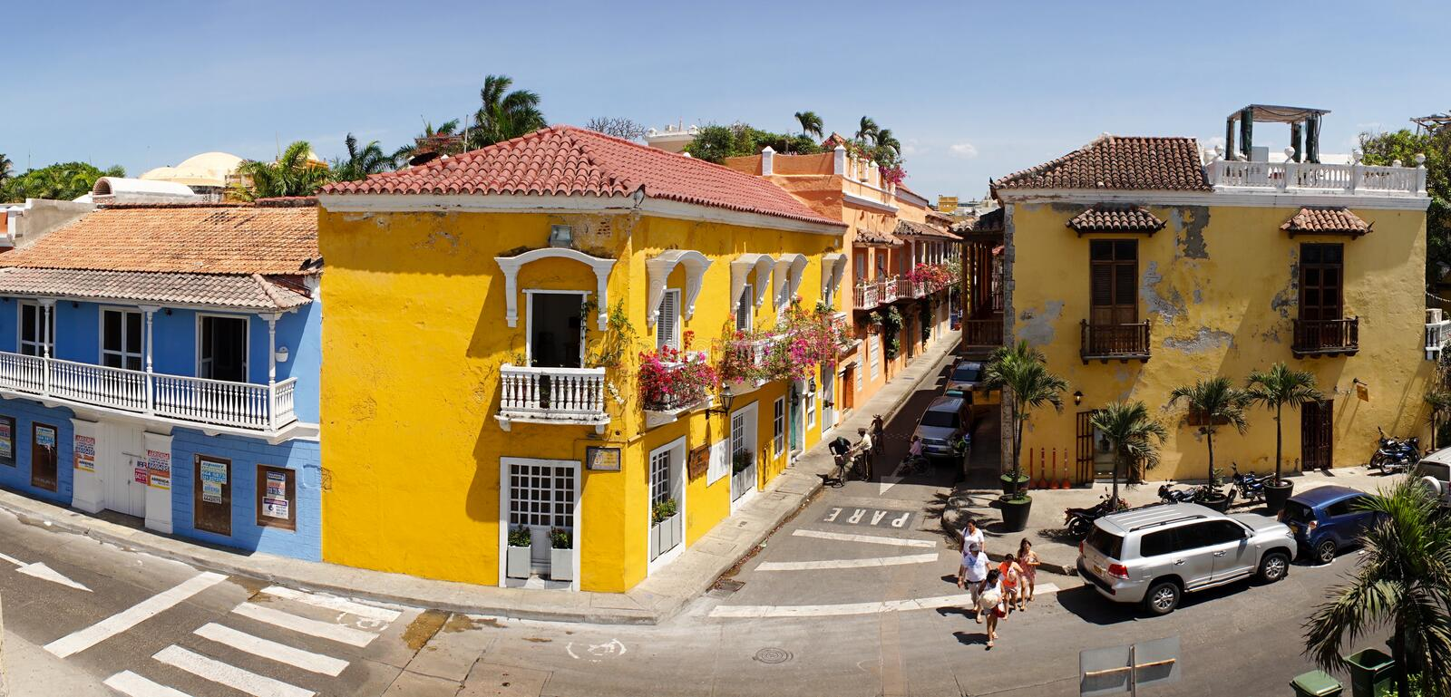 Colorful streets of Cartagena, Colombia. stock images