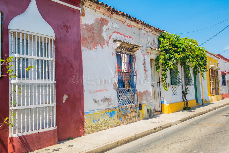 Colorful streets in Cartagena, Colombia royalty free stock photography