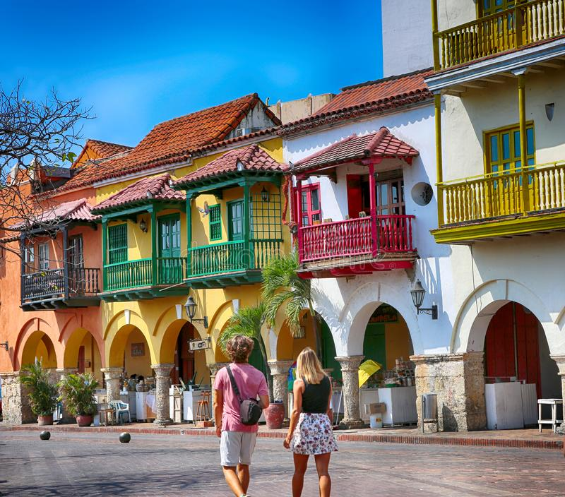 Colorful streets of Cartagena stock image