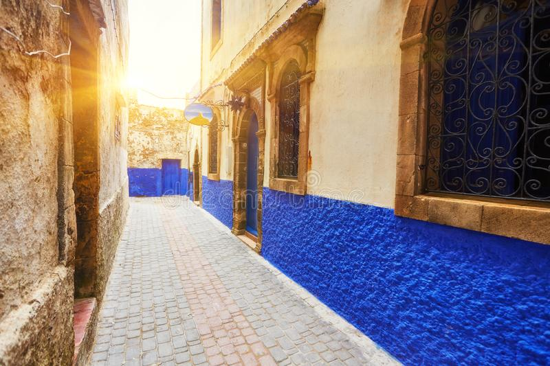 Colorful streets of essaouira maritime town royalty free stock photography