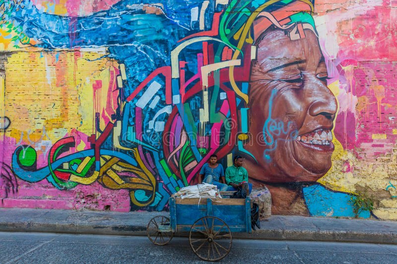Colorful streets Getsemanir Cartagena de los indias Bolivar Colo. Cartagena , Colombia - March 9, 2017 : Street Arts in the Colorful streets of Getsemaniraera of stock image
