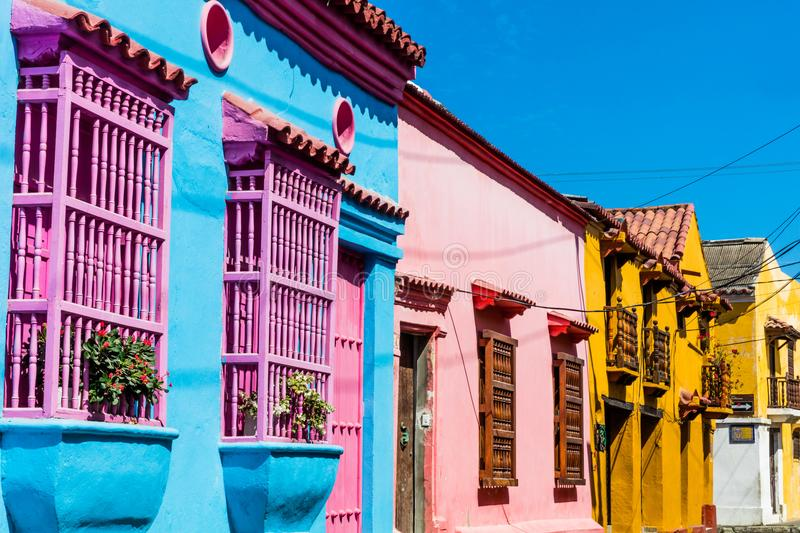Colorful streets Getsemanir Cartagena de los indias Bolivar Colo. Colorful streets of Getsemaniraera of Cartagena de los indias Bolivar in Colombia South America stock image