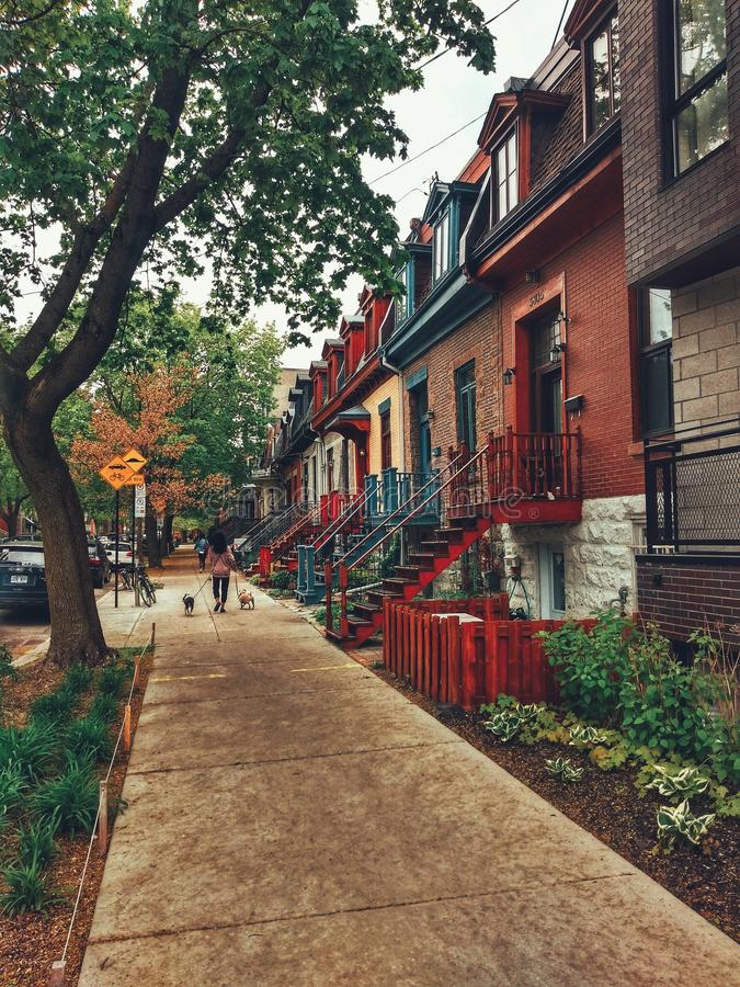 The colorful streets of Montreal. Summer, city stock images