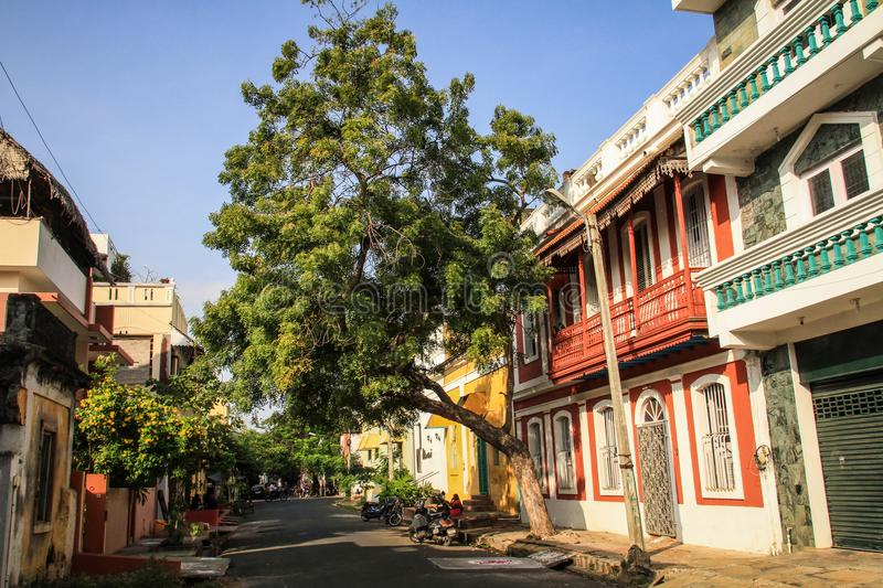 Colorful streets of Pondicherry`s French Quarter, Puducherry, India. Pondicherry or Puducherry, a French colonial settlement in India until 1954, is now a Union stock image