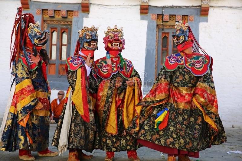 Colorful and Striking Lord of Death Festival, Bhutan stock images