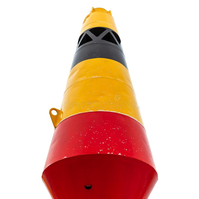 Colorful striped conical buoy isolated on white stock images