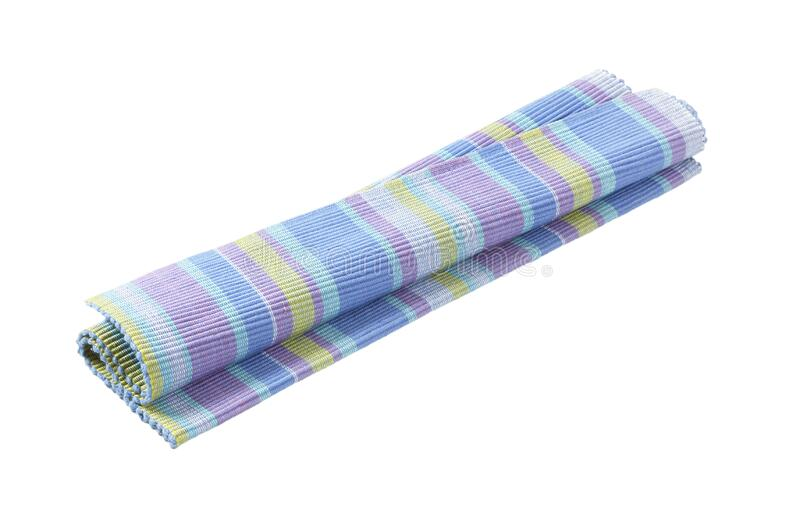 Colorful striped cotton placemat stock image