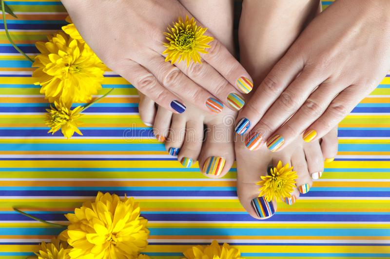 Colorful striped fashion summer pedicures and manicures. For women`s short nails with yellow flowers.Nail art stock photos