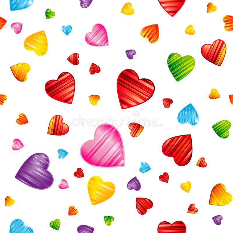 Colorful striped hearts pattern. Valentine`s day, wedding stock illustration