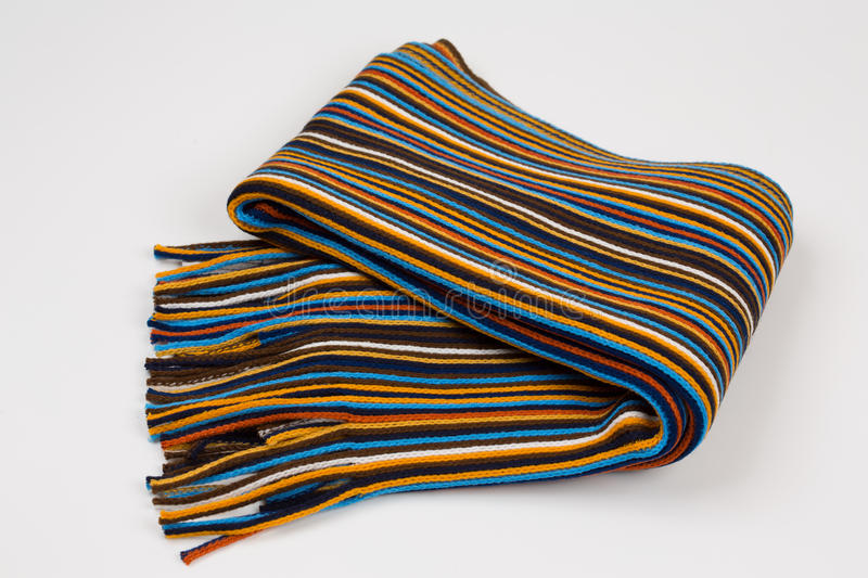 Colorful striped scarf on a white background.  royalty free stock images