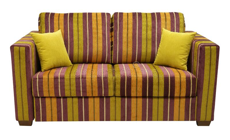 Colorful striped sofa isolated on white background. On the couch yellow decorative pillows. Full face.  royalty free stock photos