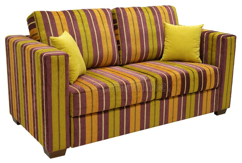 Colorful striped sofa isolated on white background. On the couch yellow decorative pillows. High angle.  stock photo